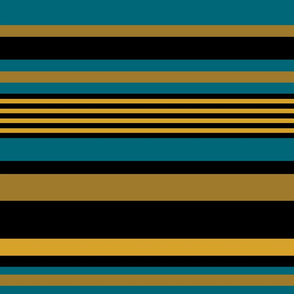 The Gold the Black and the Teal: Horizontal Stripes - LARGE