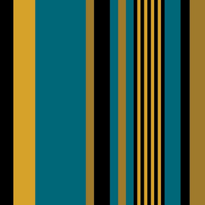 The Gold the Black and the Teal: Vertical Stripes - LARGE