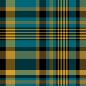 The Gold the Black and the Teal - Plaid - LARGE