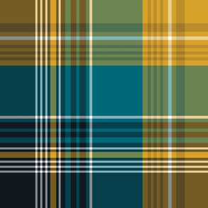 The Gold the Black and the Teal - Giant Plaid - with White