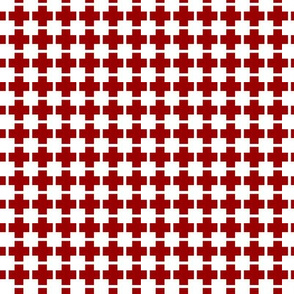 Squares And Crosses White On Cherry Red 1:1