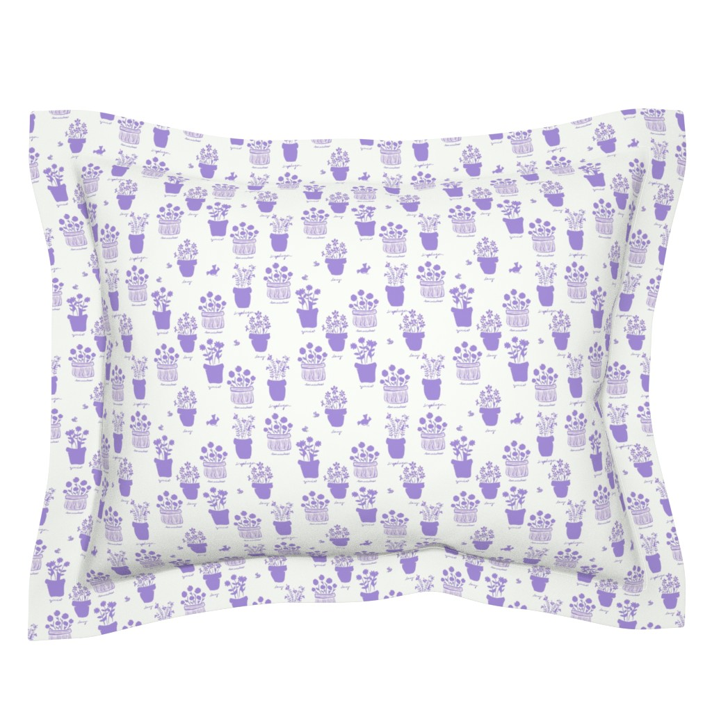 Sebright Pillow Sham featuring Happy Pots Sun Photo Print - Lilac by teawithxanthe