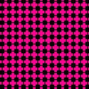 Squares And Crosses Black On Magenta 1:1
