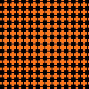 Squares And Crosses Black On Pumpkin Orange 1:1