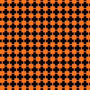 Squares And Crosses Pumpkin Orange On Black 1:1