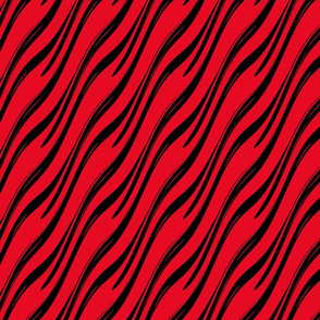 Zebra cat -- black and red