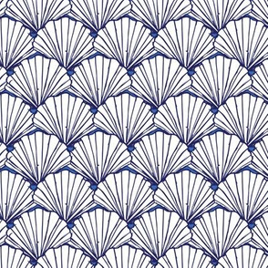 Blue and white scallop sea shells pattern