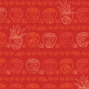Red Bali potted plants pattern