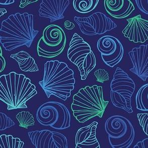 Dark blue sea shells pattern
