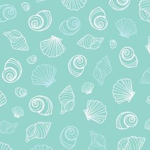 Light blue sea shells pattern