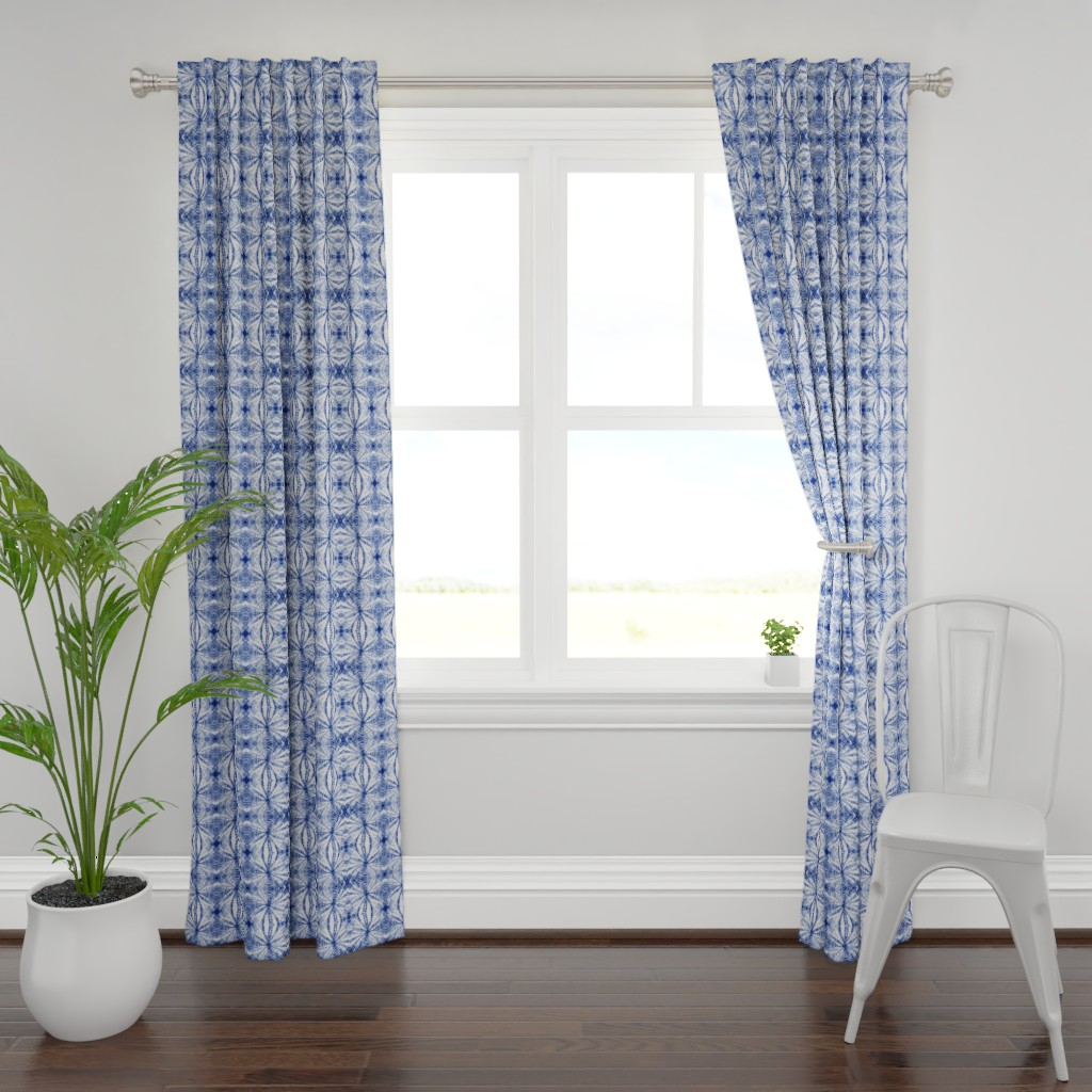 Plymouth Curtain Panel featuring Shibori Stars sm by mypetalpress