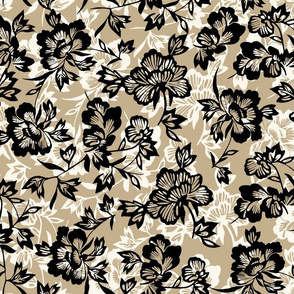 Vintage Polynesian Floral- Taupe