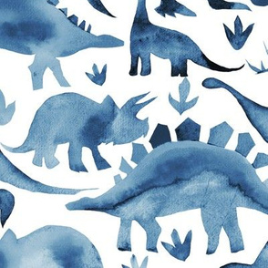 Navy Blue dinosaurs on white - larger scale