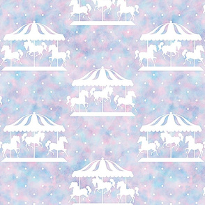 Carousel Pattern in Cotton Candy Watercolor