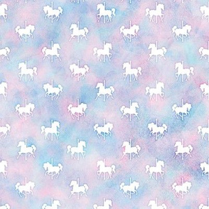Micro Carousel Horses Pattern in Cotton Candy Watercolor