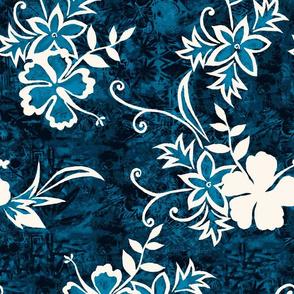 Hawaiian Hibiscus Shibori and Batik - Indigo