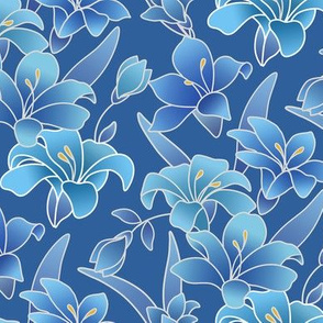 Silk painted Lilies in Blues and Aquas
