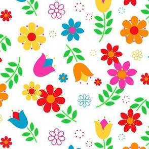 Scandinavian Spring Floral Toss on White