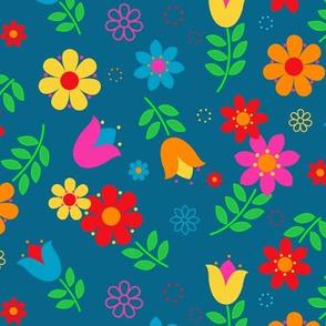 Scandinavian Spring Floral Toss on teal ground.