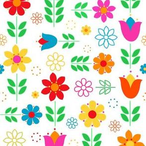 Scandinavian Spring Floral Multi-Directional on White
