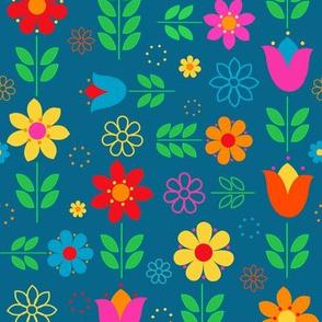 Scandinavian Spring Floral Multi-Directional on Teal