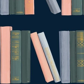 Vintage Books on Navy - Gouache Library (vintage books, reading, old-fashioned, classics)