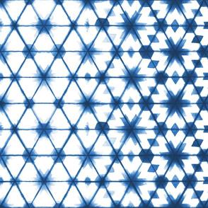 Shibori Stars Indigo // shibori tie dye geometric hexagon moroccan star faded boho indigo blue fabric