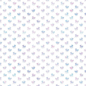 Micro Carousel Horse Pattern in Cotton Candy Watercolor on White