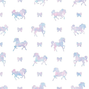 Horses and Bows Pattern in Cotton Candy Watercolor on White