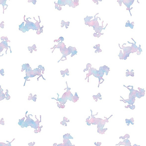 Ditsy Horses and Bows Pattern in Cotton Candy Watercolor on White
