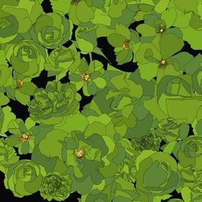 Roses - green on black