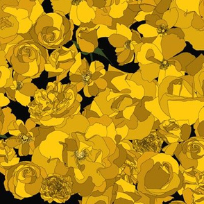 Roses - mustard on black