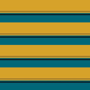 The Gold the Black and the Teal: Quadcolor Small Stripes - Horizontal