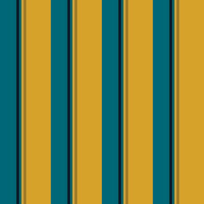 The Gold the Black and the Teal: Quadcolor Small Stripes - Vertical