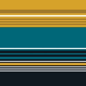 The Gold the Black and the Teal - Giant Stripes - Horizontal - with White