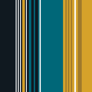 The Gold the Black and the Teal: Giant Stripes - Vertical - with White