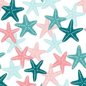 Starfish - teal - summer beach nautical - LAD19