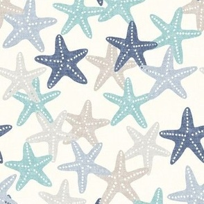 Starfish - multi blue - summer beach nautical - LAD19