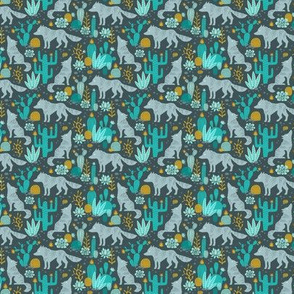 Wolf in the cactus desert turquoise/mustard dark (mini)