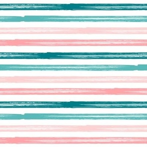 Summer Stripes - Starfish Coordinate Stripes - teal and pink  - LAD19