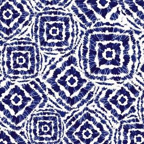 Blue Shibori diamond squares overlap pattern