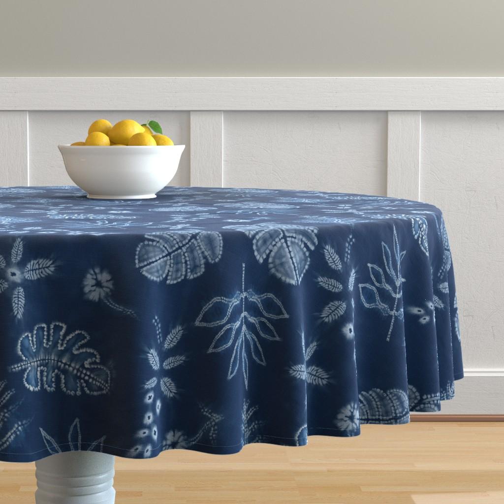 Malay Round Tablecloth featuring Indigo Shibori Jungle by gartmanstudio