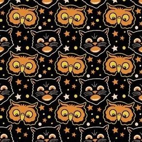 Retro Black Cat & Night Owl