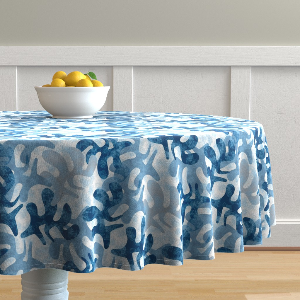 Malay Round Tablecloth featuring Indigo Fest by mirimo_design