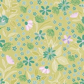 Spring floral on light green background