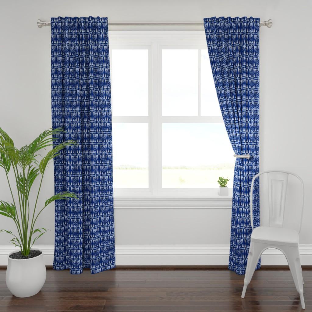 Plymouth Curtain Panel featuring Indigo Tie-dye Shibori #2 Wht & Blue by kandyceartstudio