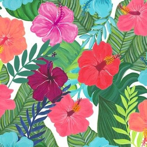 Tropical Flowers on White
