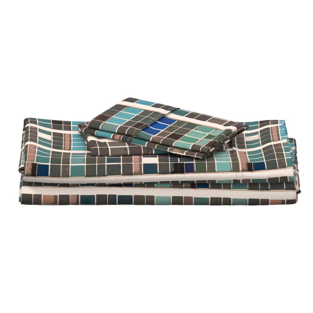 Langshan Full Bed Set featuring terra urban vista by whatever-works