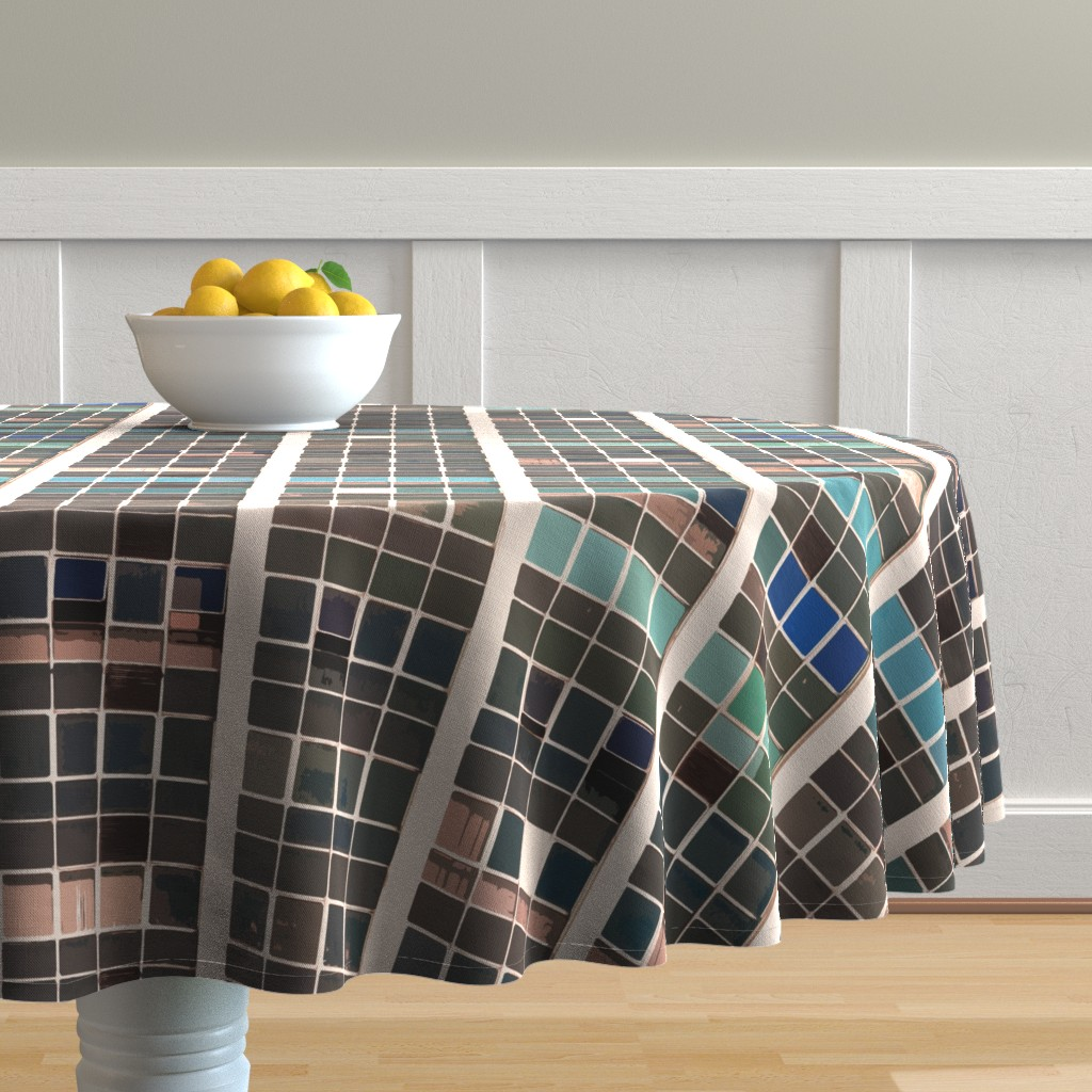 Malay Round Tablecloth featuring terra urban vista by whatever-works