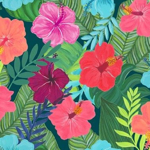 Tropical Flowers on teal